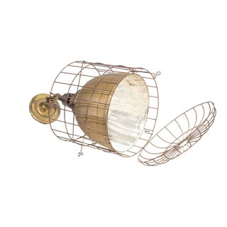 1920s Industrial Gold Mercury Glass Caged Ceiling Pendant Lamp For Sale