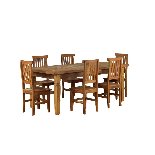 Yellow Reclaimed Wood Dining Set For Sale - Image 8 of 8