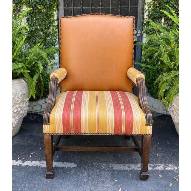 Huge Antique Mahogany Leather Desk Chair W Linen Stripe Seat
