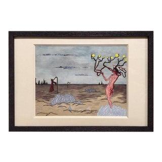 Surrealist Gouache Landscape For Sale