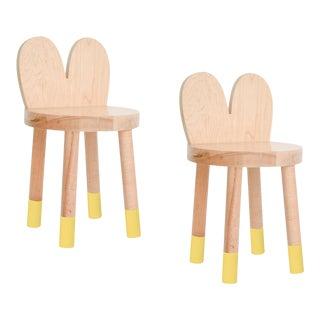Nico & Yeye Lola Kids Chair Solid Maple and Maple Veneers Yellow - Set of 2 For Sale