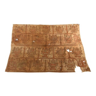 C. 1100AD Chimu Fanged Gods Painted Textile Panel