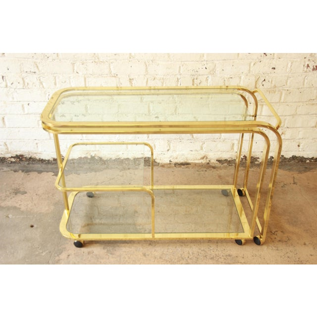 Milo Baughman for Dia Expandable Brass and Glass Bar Cart For Sale In South Bend - Image 6 of 11