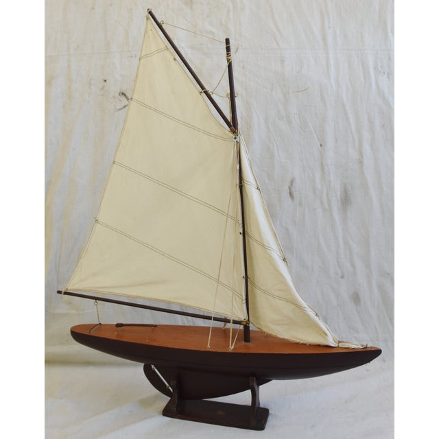 Vintage Nautical Sailing Ship/Boat Model W/Stand For Sale In Los Angeles - Image 6 of 13
