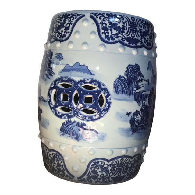 Vintage Chinese Blue & White Porcelain Garden Stool For Sale