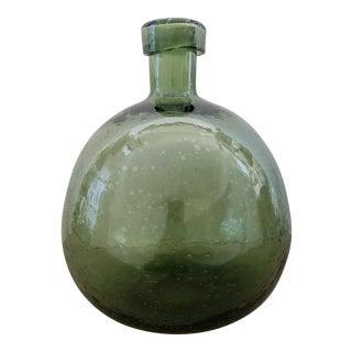 Vintage Seeded Glass Green Bottle For Sale
