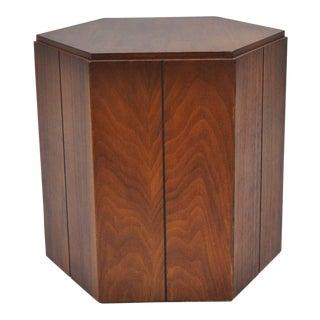 Vintage Lane Small Walnut Mid Century Modern Pedestal Stand Side Table