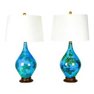 Vintage Glazed Ceramic Table Lamps - A Pair For Sale