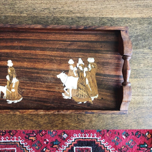 Vintage Indian Marquetry Wooden Tray For Sale In Austin - Image 6 of 9