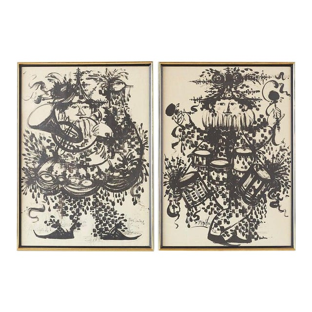 Pair of Bjorn Wiinblad Lithographs of Musical Players For Sale