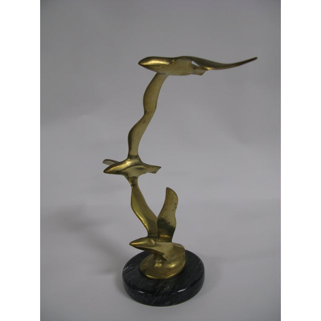Mid-Century Modern Brass and Marble Birds in Flight Sculpture For Sale - Image 9 of 9