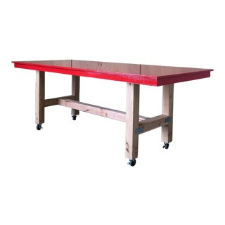 Industrial Red Epoxy Work Table on Casters Wheels