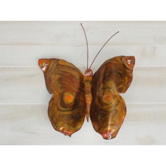 Mid-Century Modern Signed by Artist Copper Butterfly Metal Wall Sculpture For Sale - Image 13 of 13