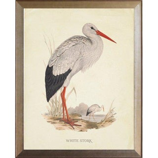 White Stork in Distressed Metallic Frame 25x31 For Sale