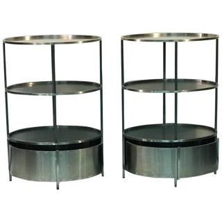 Modern Pair of Polished Steel Triple Tier Stands For Sale