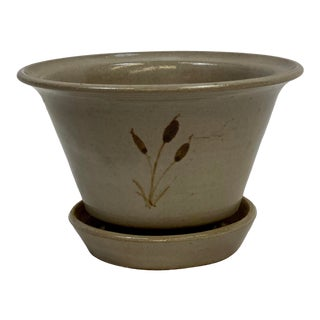 Mid 20th Century Vintage Jugtown Pottery Earthenware Cattail Planter For Sale