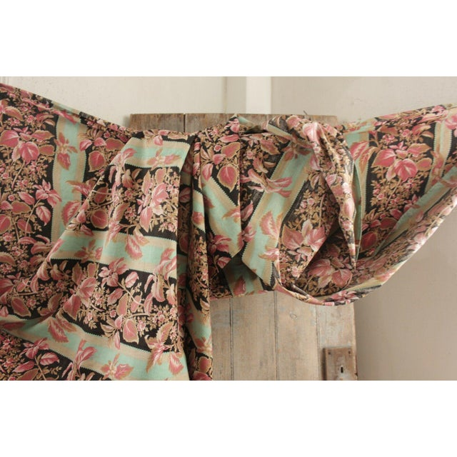 French Fabric Antique French Black & Teal Stripes W/ Red Pink Florals 1880 Belle Epoque For Sale - Image 3 of 11