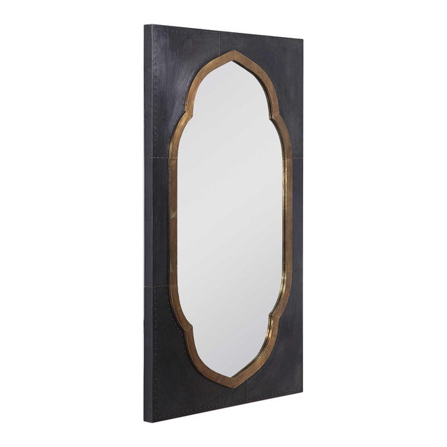 2010s Moroccan Stained Copper and Brass Clad Mirror For Sale - Image 5 of 6