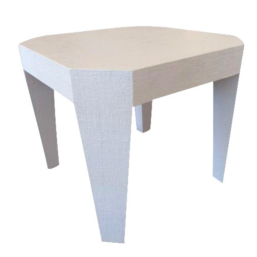 Vintage Gray Lacquered Grass Cloth Game Table For Sale