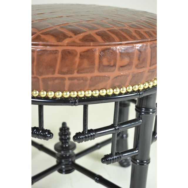 Animal Skin Regency Style Faux Bamboo Stool with Leather Cover For Sale - Image 7 of 7