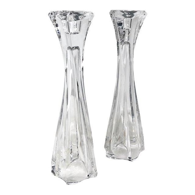 """Mikasa 12"""" Tall Pacific Wave Candle Holders Traditional Taper/Vases Crystal - Set of Two For Sale"""