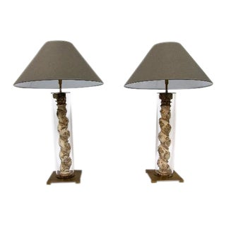 18th Century Giltwood Twisted Columns Glass Tubes Table Lamps on Brass Stands - a Pair For Sale