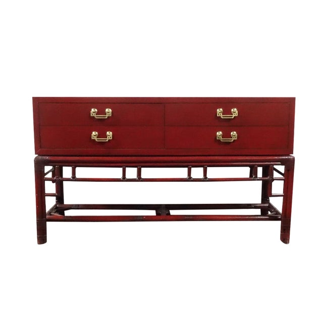 Ficks Reed Red Asian Sideboard Console - Image 1 of 11