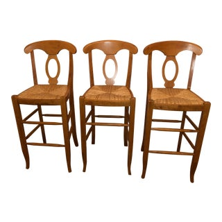 Comfortable Pottery Barn Farmhouse Bar Height Stools - Set of 3 For Sale