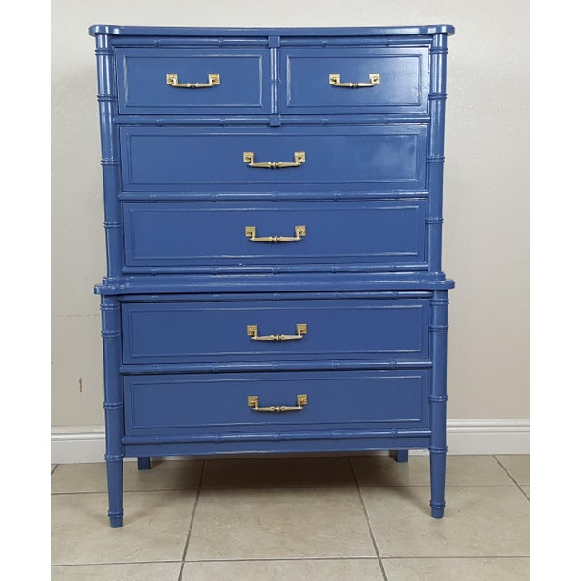 Faux Bamboo Henry Link Hollywood Regency Bali Hai Blue Faux Bamboo Chest For Sale - Image 7 of 7