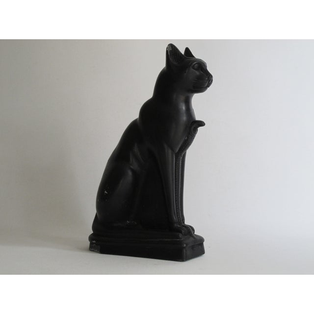 Egyptian Black Cat Carved Stone Sculpture - Image 10 of 10