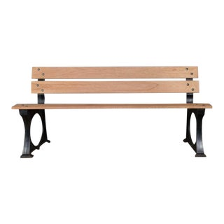 1920s Vintage French Iron and Mahogany Park Bench For Sale