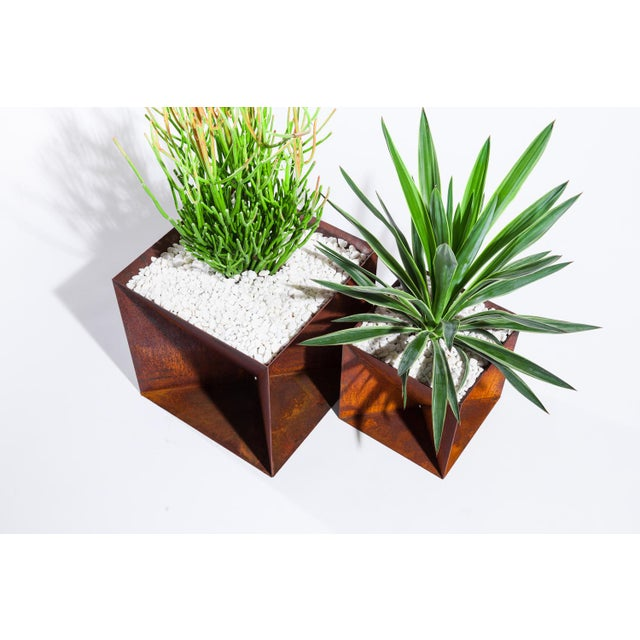 Trey Jones Studio Trey Jones Studio Weathering Steel Origami Planter For Sale - Image 4 of 12