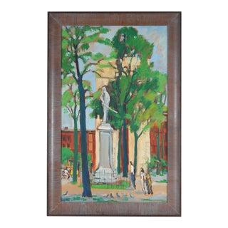 """Rip Matteson """"New York"""", 1969 Washington Square Park Scene in Oil, American Modern 1969 For Sale"""