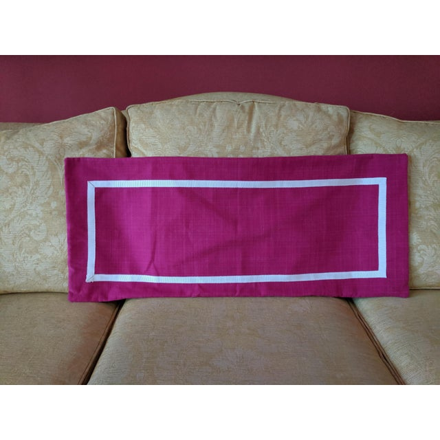 Vibrant Custom Made Pillow Cover Magenta Linen with a White Ribbon Trimmed Border Hidden Zipper Does not include Insert