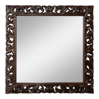 Antique Renaissance Carved Square Mirror For Sale