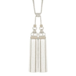 """Ivory Double Tassel 17"""" Tieback With Cut Ruche For Sale"""