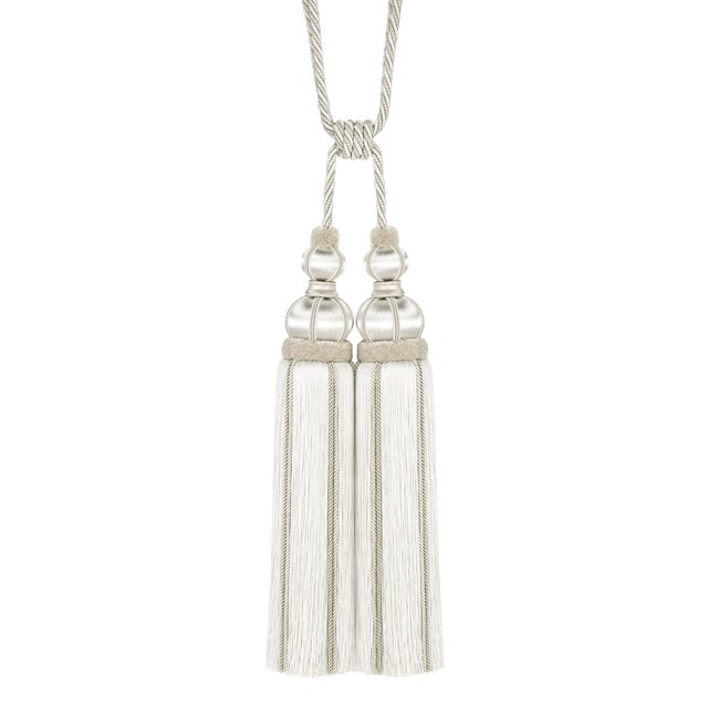 """Ivory Double Tassel Tieback With Cut Ruche - Tassel Height 17"""" For Sale"""