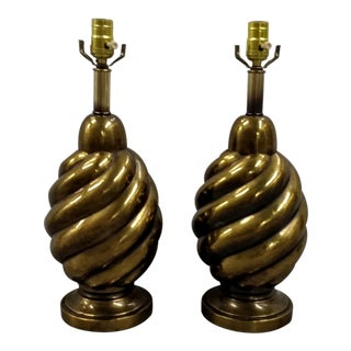 1970s Hollywood Regency Westwood Industries Brass Lamps- a Pair For Sale