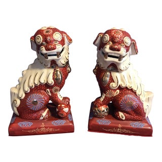 "Antique Red Moriage Chinese ""Fu Dogs"" Feng Shui Guardian Lions - a Pair"