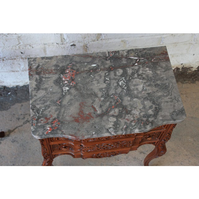 Brown Carved Louis XV Style Marble Top Nightstands - A Pair For Sale - Image 8 of 10