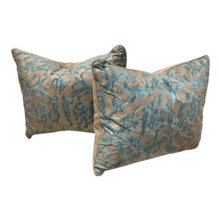 Fortuny Pillows With Linen Backs - A Pair For Sale