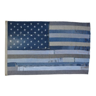 "Boho Chic Custom Ralph Lauren Style Denim Patchwork American Flag Art Throw 58"" X 37"""