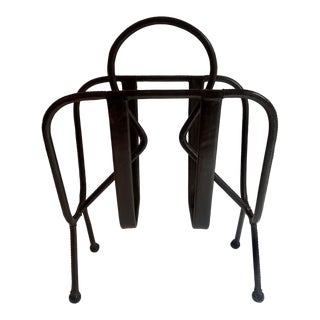 Jacques Adnet Leather Magazine Rack For Sale