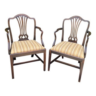 Early 19 C Hepa White English Arm Chairs - a Pair For Sale