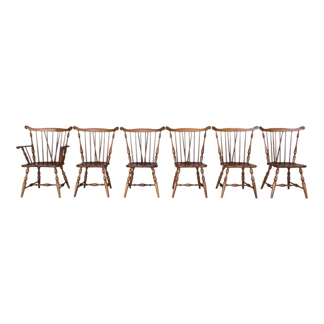 Tell City Maple Windsor Brace Back Dining Chairs - Set of 6 For Sale