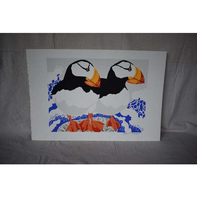 Late 20th Century Vintage Ann T. Cooper Puffins Lithograph Print For Sale - Image 4 of 4
