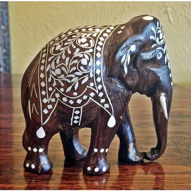 19th Century Anglo Indian Carved Rosewood and Bone Inlaid Elephant Figure For Sale In Dallas - Image 6 of 8