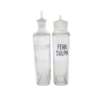 Vintage Eucalypt. And Ferr. Sulph. Pharmacy Apothecary Glass Bottle Set of 2 For Sale