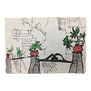 Mediterranean Garden Gate Watercolor For Sale
