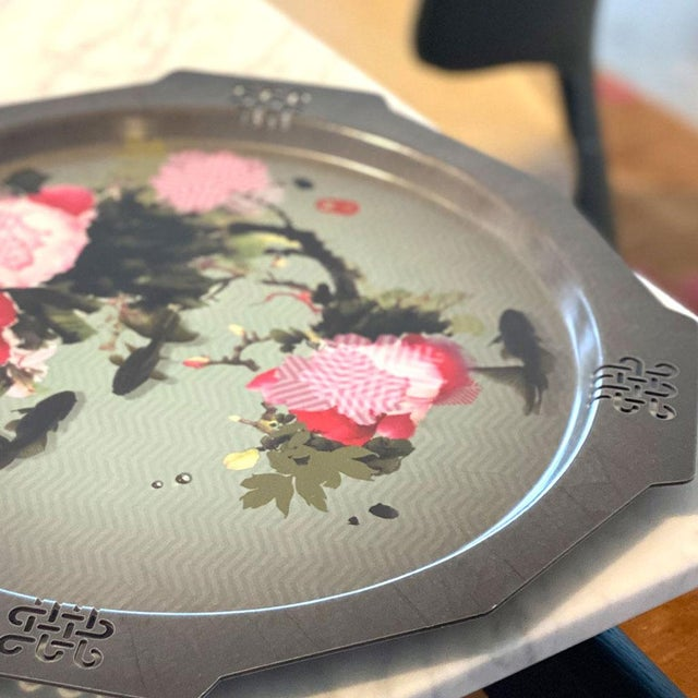 Peony + Coy Mural Serving Tray, Ibride For Sale - Image 4 of 5